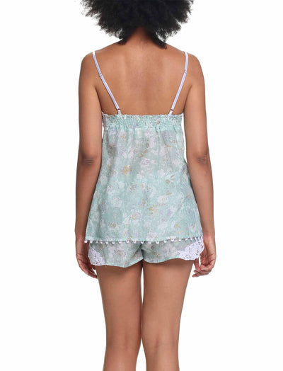 Louis Mint Lace Front Cami and Boxer