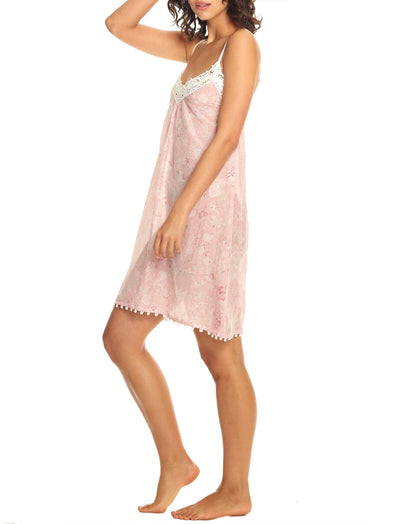 Louis Pink Short Lace Front Nightie