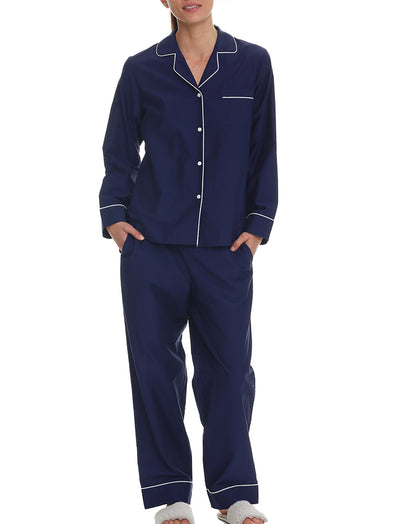 Mia Cotton Silk Full-Length PJ Set in Navy