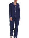 Mia Cotton Silk Full-Length PJ Set, Navy