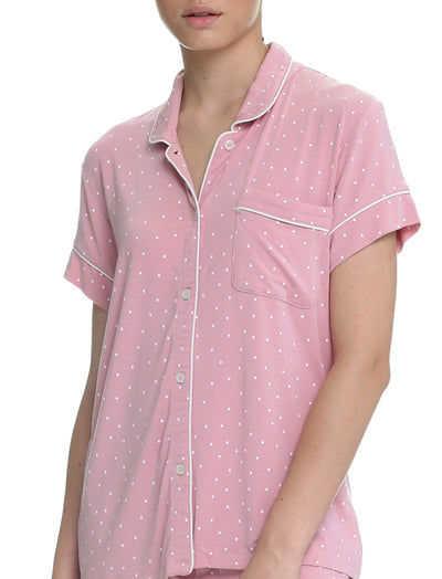 Pink Spot Modal Soft Kate Crop PJ