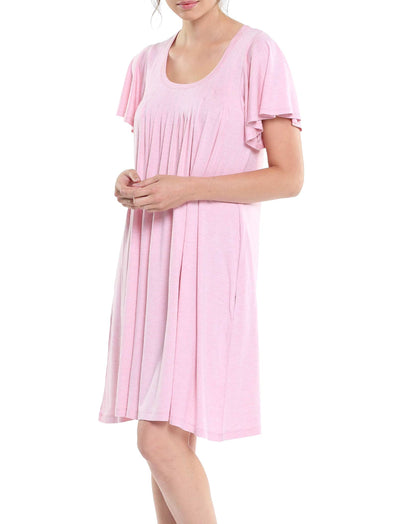 Modal Soft Flutter Nightie in Ruby Pink
