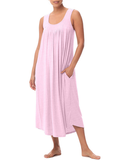 Modal Soft Pleat Front Maxi Nightie in Ruby Pink