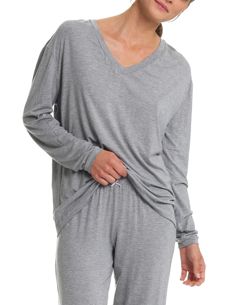 Modal Relax V-Neck Top in Grey