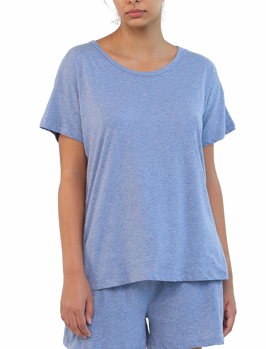 Organic Cotton Knit Tee in Indigo