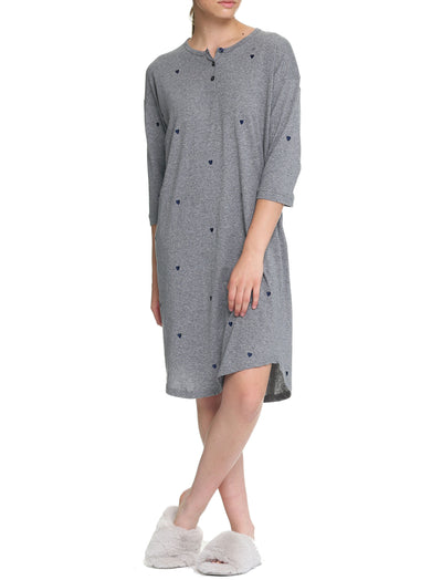 Navy Hearts Organic Cotton Knit Nightie