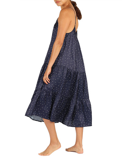 Navy Spot Silky Tiered Nightie