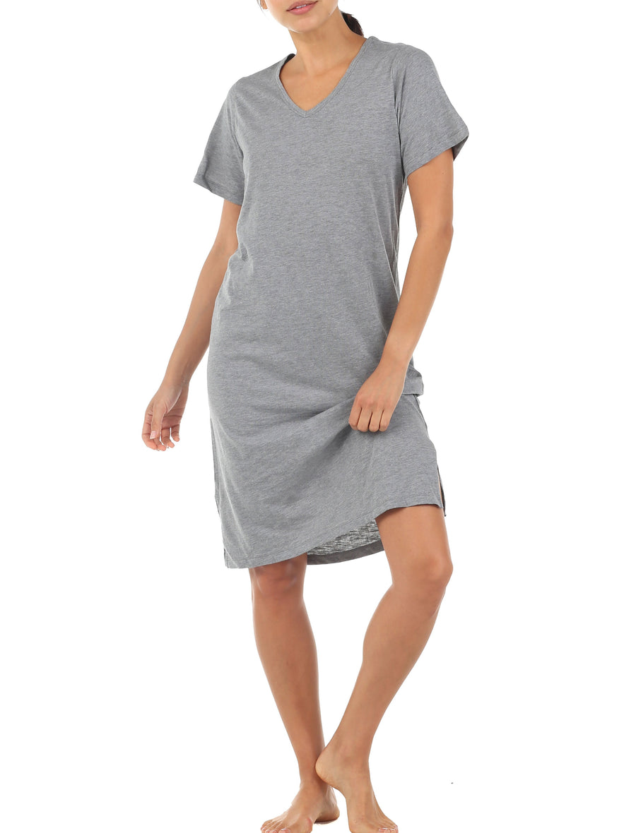 Basic Slub T-Shirt Nightie, Grey