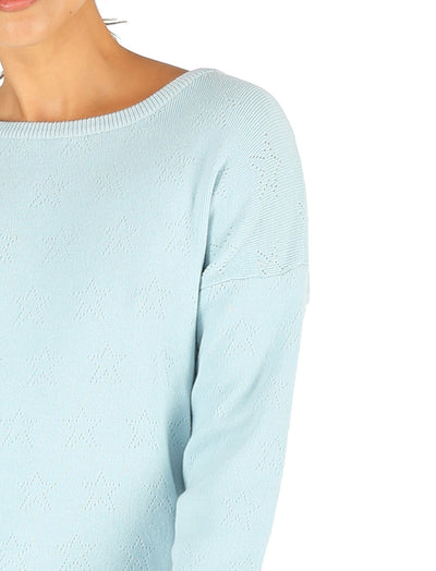 Pointelle Long Sleeve Top Blue Green