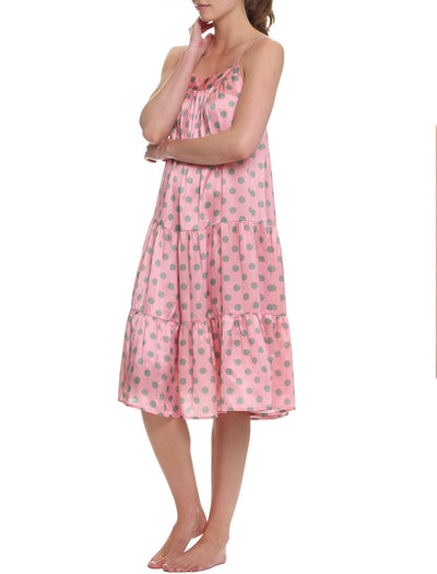 Sarah Spot Tiered Nightie, Pink/Sage