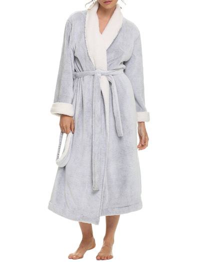 Plush Sherpa Soft Robe with Eye Mask, Grey