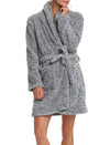 Cosy Short Plush Robe in Charcoal