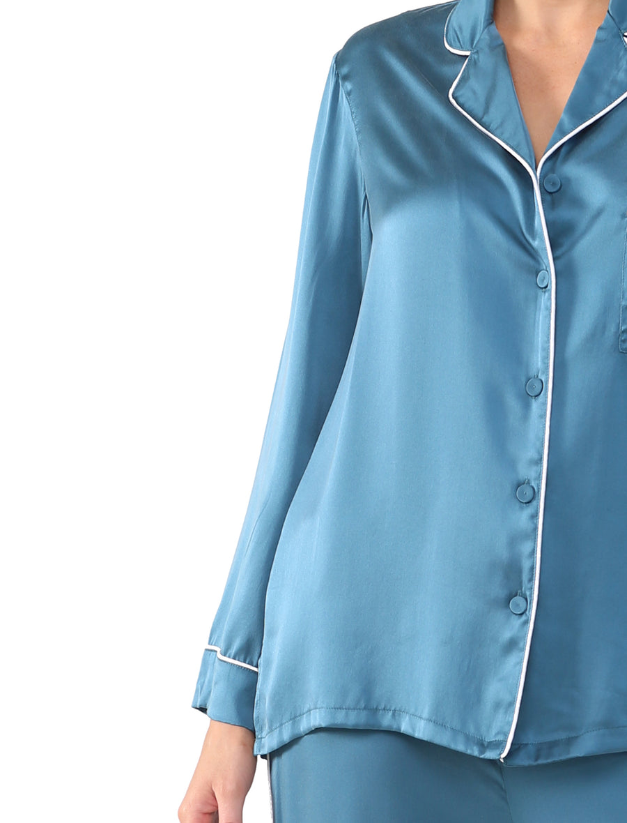 Pure Silk Piped PJ in Deep Teal