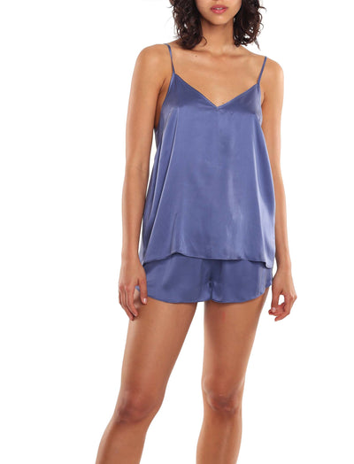 Washable Silk Cami and Boxer PJ in Indigo