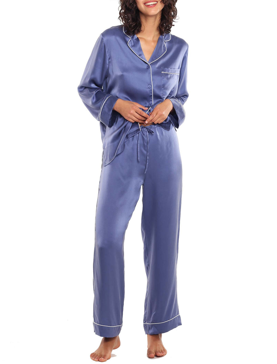 Washable Silk Piped PJ in Indigo