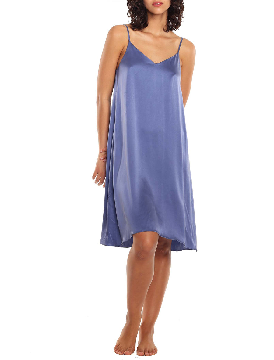 Washable Silk Slip Nightie in Indigo