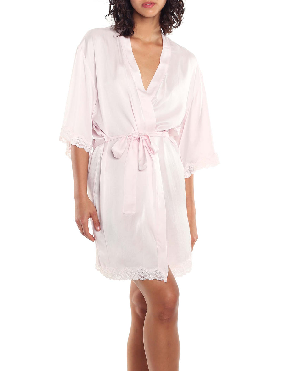 Pure Silk Lace Robe in Pink