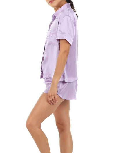 Silk Short Sleeve Shirt and Boxer PJ Set, Lilac