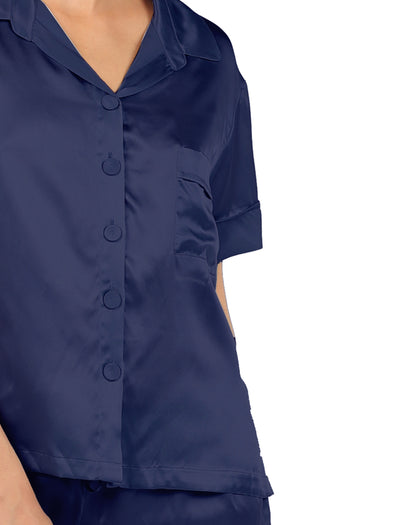 Silk Short Sleeve Shirt and Boxer PJ Set, Navy