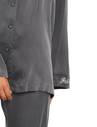 Washable Pure Silk PJs in Dark Slate