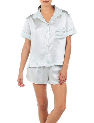 Silk Short Sleeve Shirt and Boxer PJ, Sage