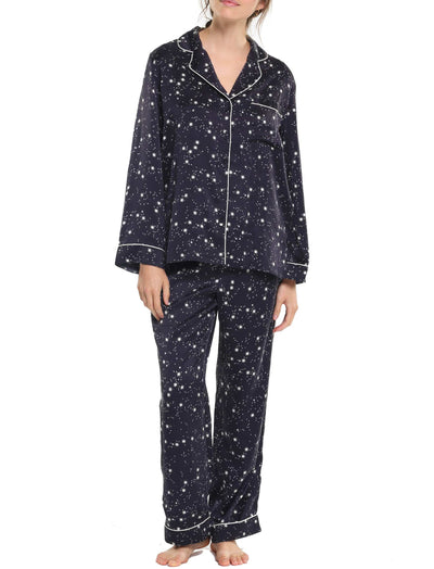 Black Silk Stars Piped Silk PJ