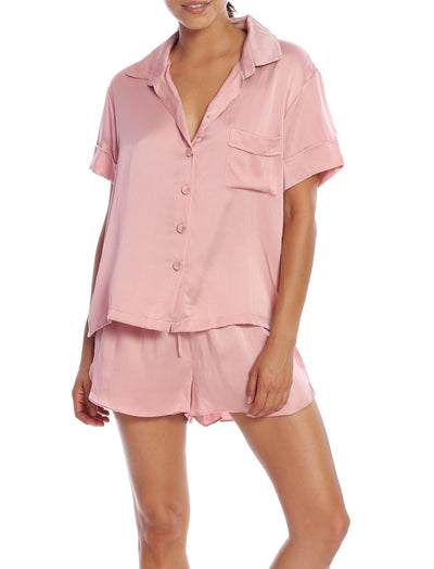 Silk Shortie PJ Set in Vintage Pink