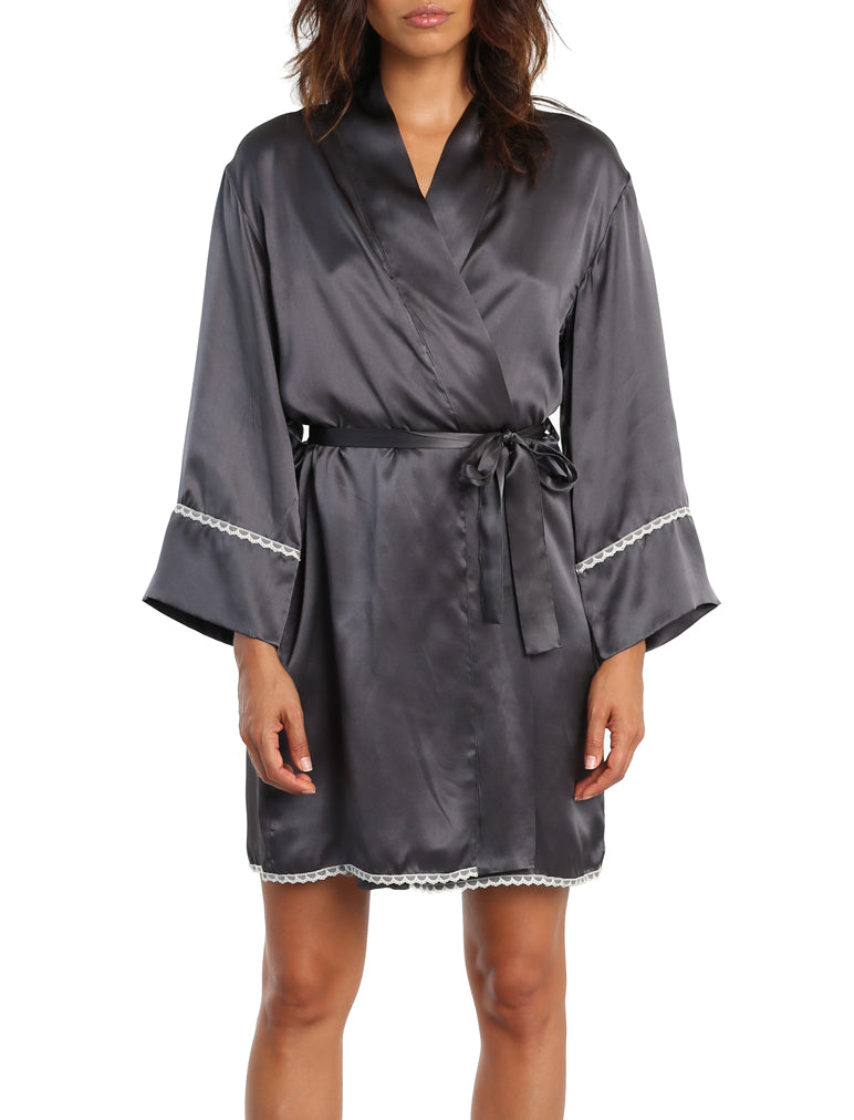 Short Silk Robe in Dark Slate
