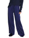 Navy Silk Wide Leg Pants