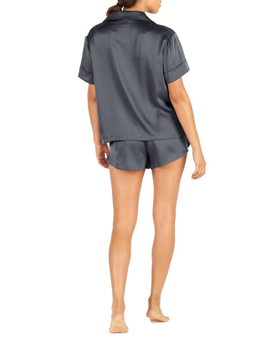 Washable Pure Silk Boxer PJ in Slate