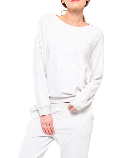 So Soft V-Neck Boxy Pullover in Grey Marl