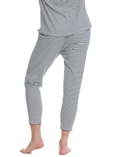 Organic Knit Pant in Navy Stripe