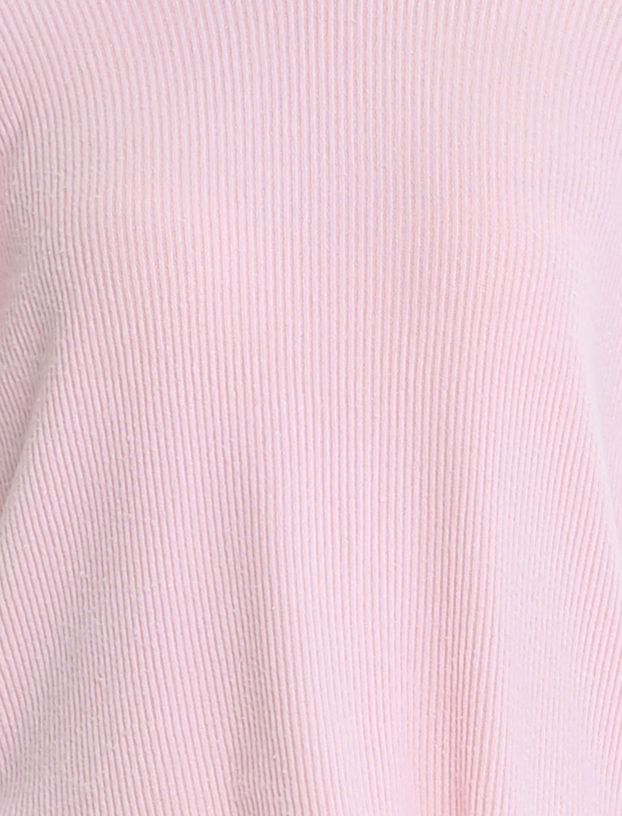 Soft Touch Rib V-Neck Long Sleeve Top in Misty Pink