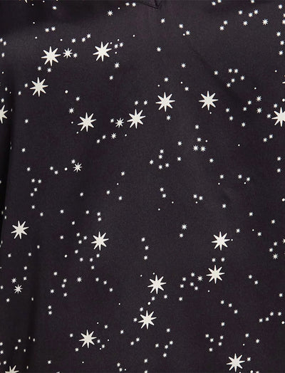 Black Silk Stars Cami and Boxer Set