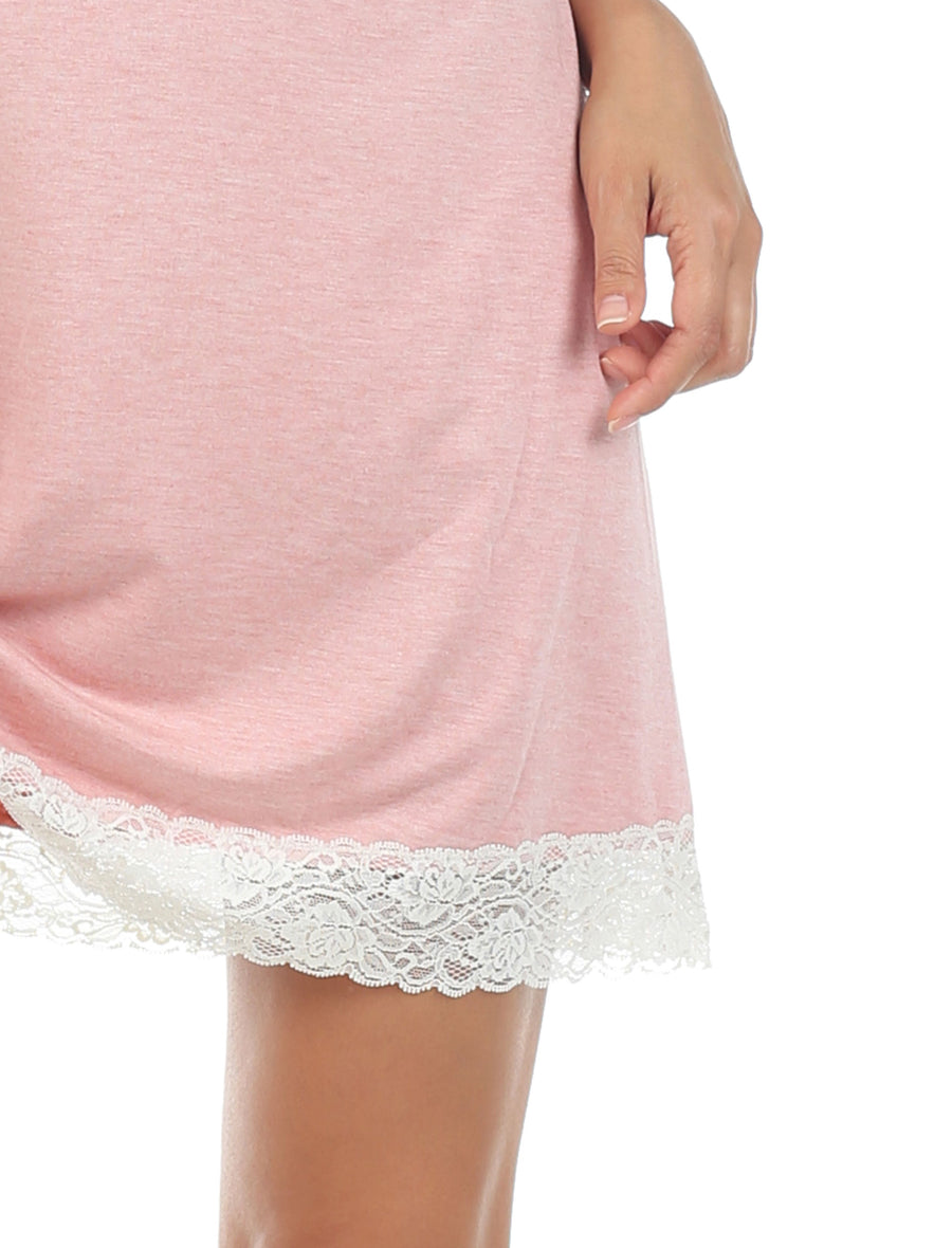 Suki Modal Lace Nightie, Pink