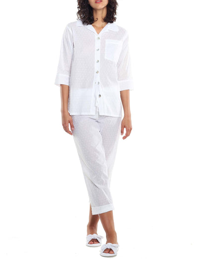 Swiss Dot White Crop PJ