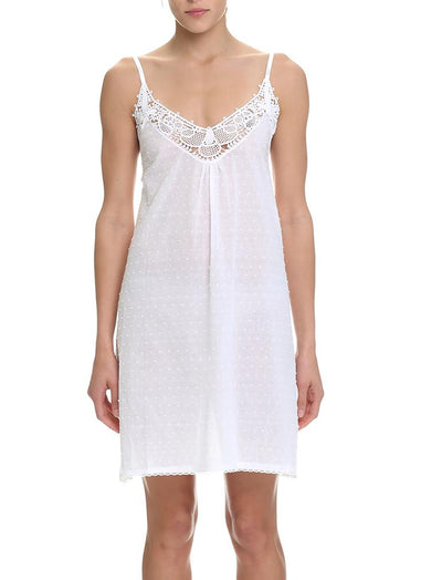 Swiss Dot White Lace Front Nightie