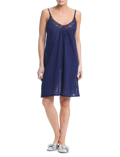 Swiss Dot Navy Lace Front Nightie