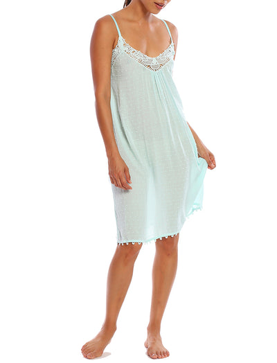 Swiss Dot Teal Lace Front Nightie