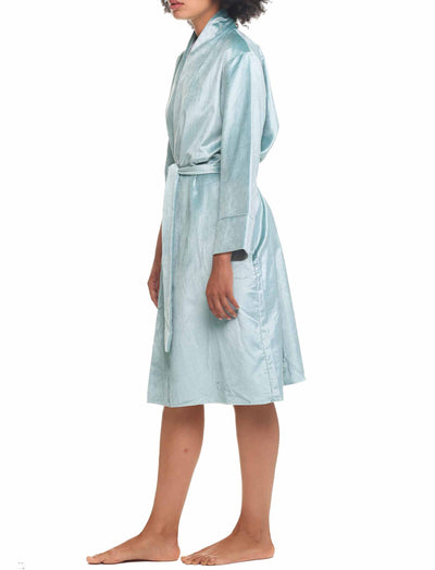 Pure Cotton Velvet Robe in Blue Green