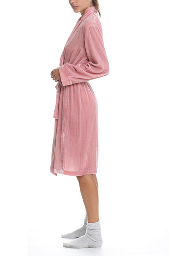 Silk Velvet Robe in Vintage Pink