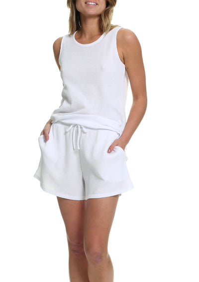 Organic Cotton Summer Waffle Tank in White
