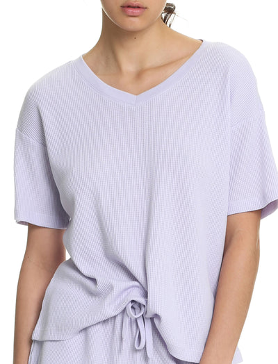 Organic Cotton Summer Waffle Tee in Lilac