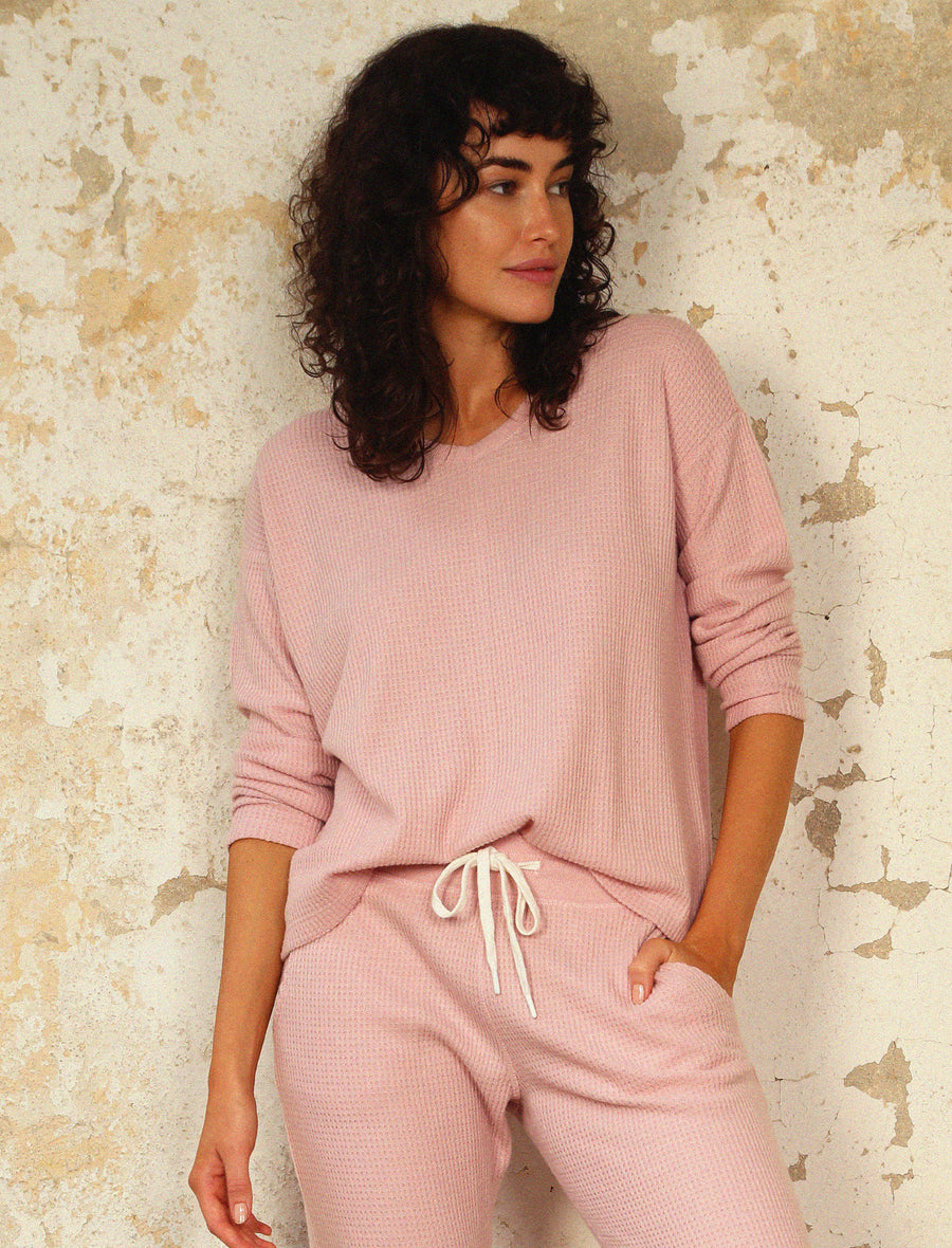 Super Soft Waffle V-Neck Long Sleeve Top in Pink