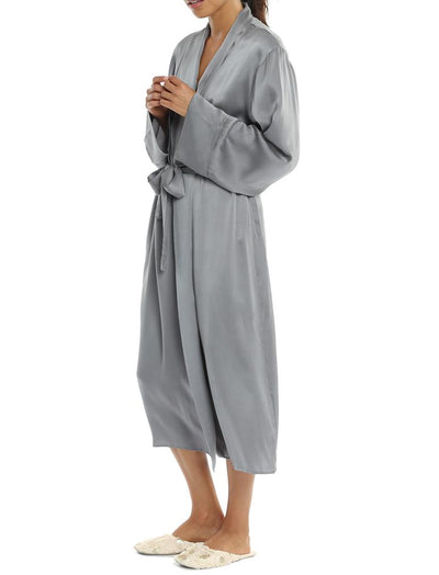 Silk Long Robe Charcoal