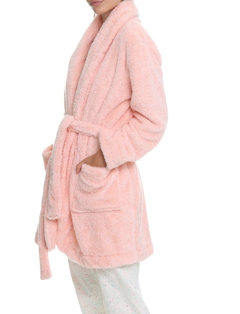 Cozy Short Plush Robe Pink