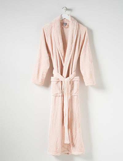 Long Plush Robe in Blush