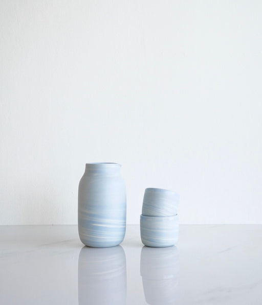 CORNFLOWER BLUE MARBLE SAKE SET