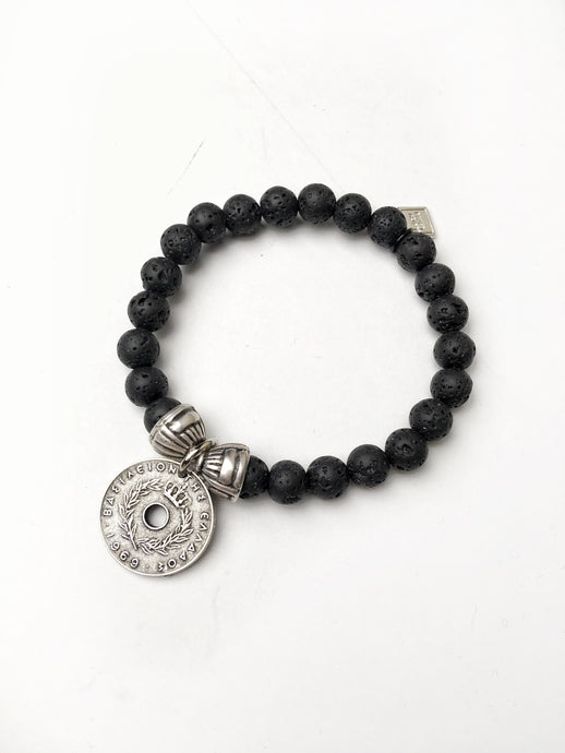 Greek Coin Lava Bracelet