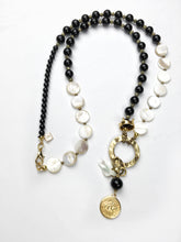 Load image into Gallery viewer, Long Mother of Pearl and Onyx Charm Necklace